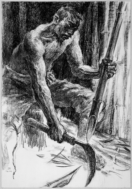 Making Bamboo Spears, 1991, Charcoal on paper, 76x52cm