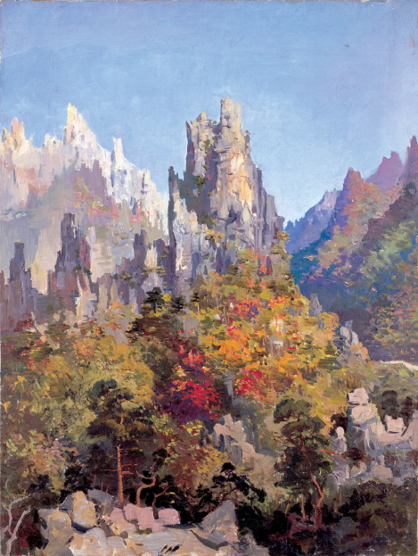 Kumgang Mountain in the Glorious Sunlight, 1953, Oil on canvas, 78×59cm