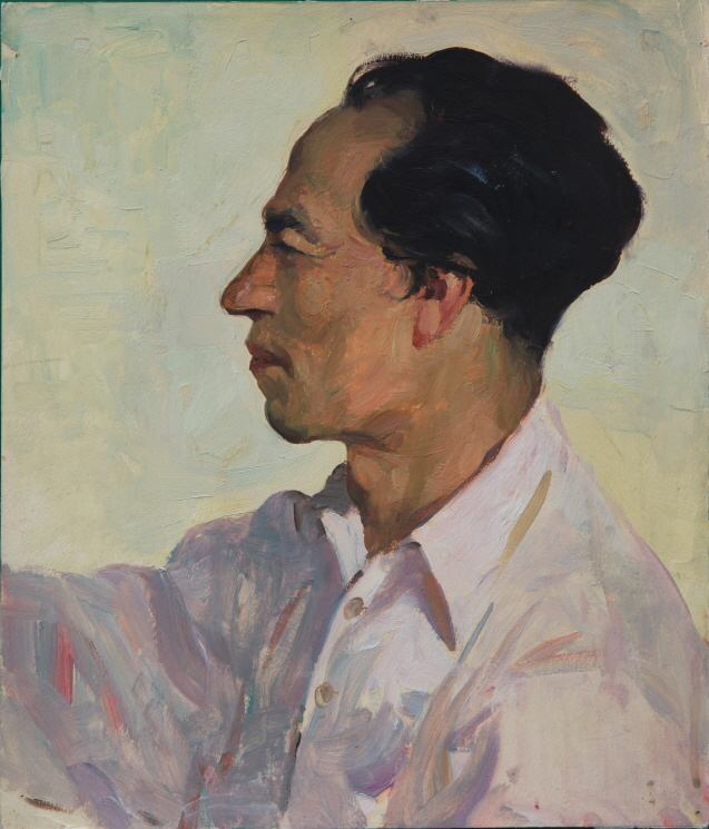 Artist Jung Kwan-chul (Chairman, Central Committee of Joseon Artists' Association), 1954, Oil on paper, 28.5×24cm