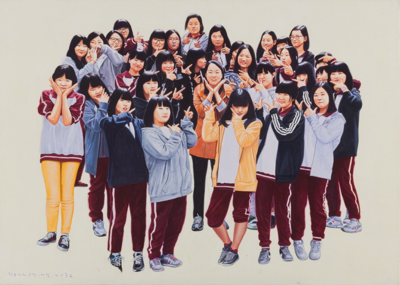 Let's Go to School, Class 7 - Sewol, 2017, Acrylic on Hanji, 65x91cm