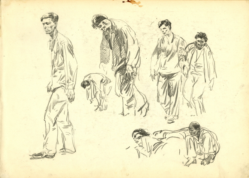 Esquisse of 'In North Korea', 1951, Pencil on paper, 28.7×40cm