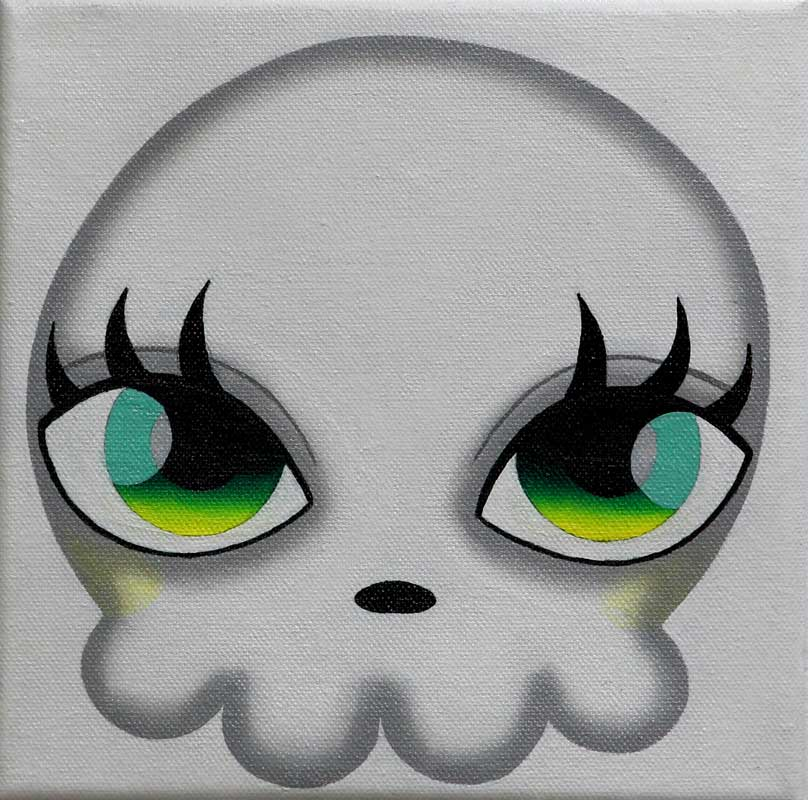 Mari Kim, Skull, 2012, Acrylic on canvas, 19.5x19.5cm