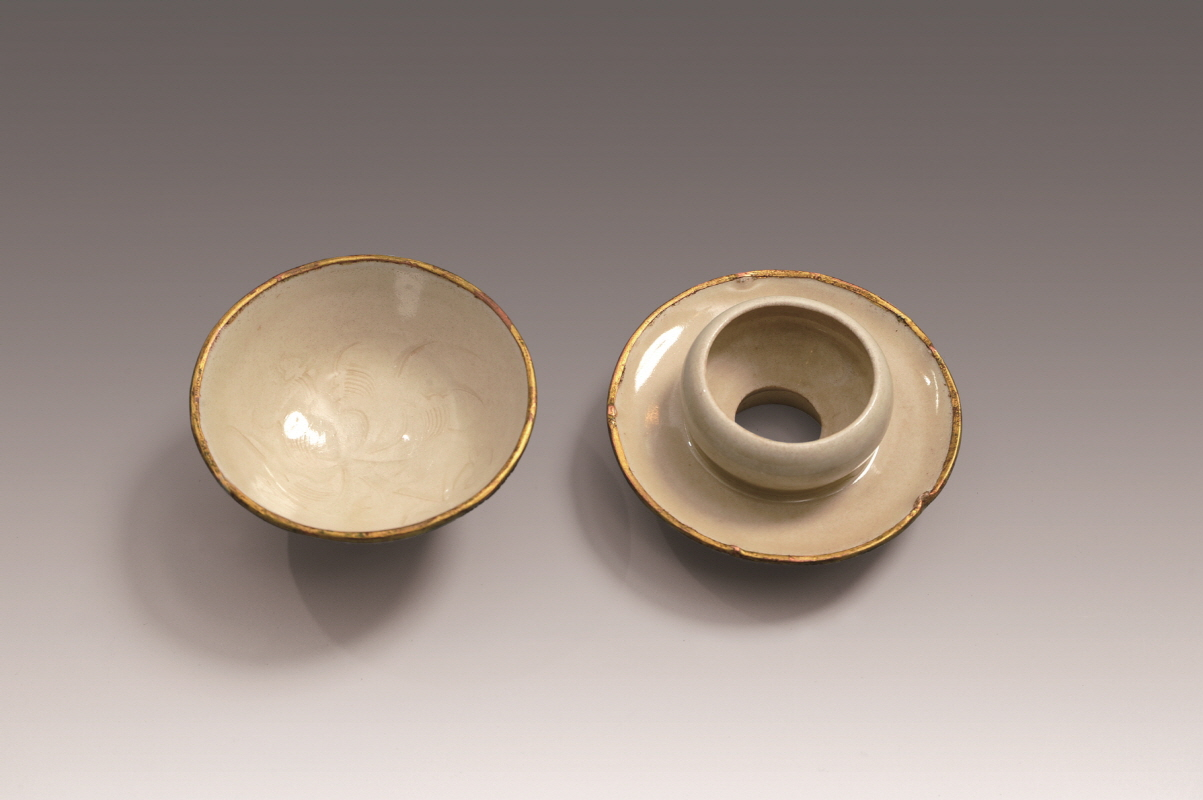 Dingyao Cup and Cupstand with Inlaid Floral Pattern-Rim, Northern Song Dynasty and Jin Dynasty