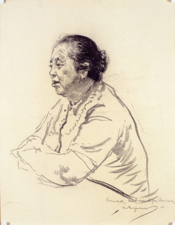 Fisherwoman Hanshura, Kholmsk, 1968, Charcoal, pencil on paper, 64.5×50cm