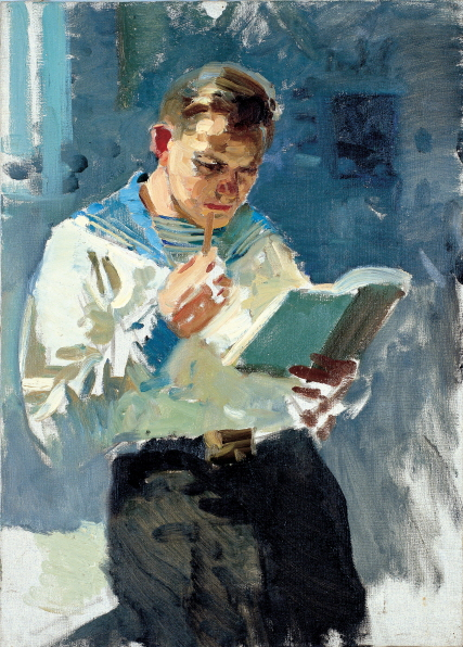 Millitary Cadet Reading a Book (Etude), 1960, Oil on canvas, 70×50cm