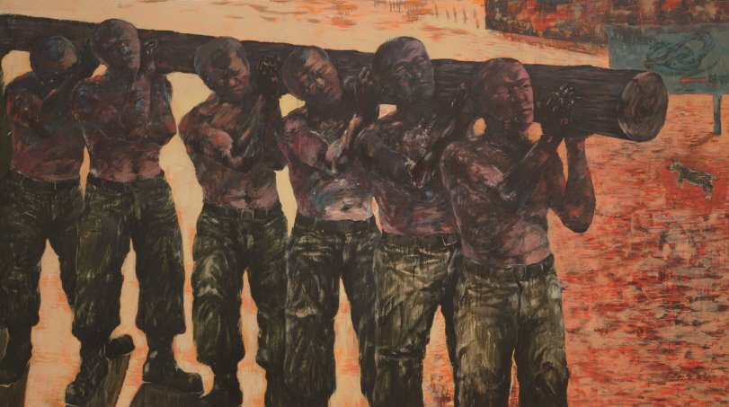 Samcheong Recruit Training Center, 1987, Oil on canvas, 130x230cm