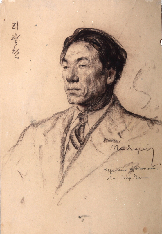 Artist Lee Palchan, 1955, Charcoal on paper, 64×34cm