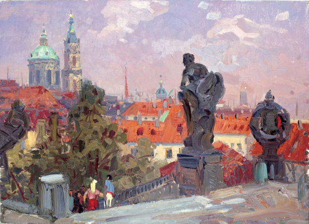 Prague, 1972, Oil on canvas panel, 50×69.5cm
