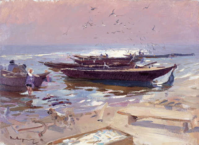 Fishermen Working on the Fishing Boat, 1977, Oil on canvas panel, 50.3×68.8cm