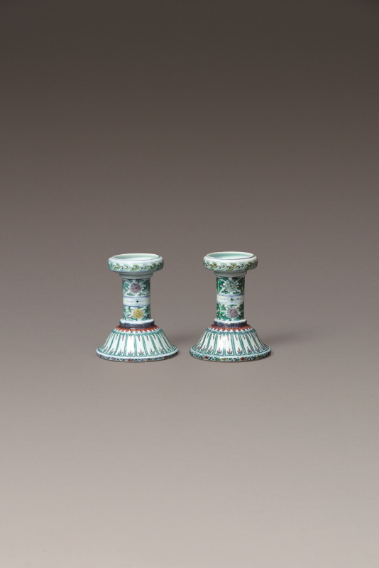 A Pair of 'Doucal' Candleholder, Yongzheng Mark and Period, H15 W12.3