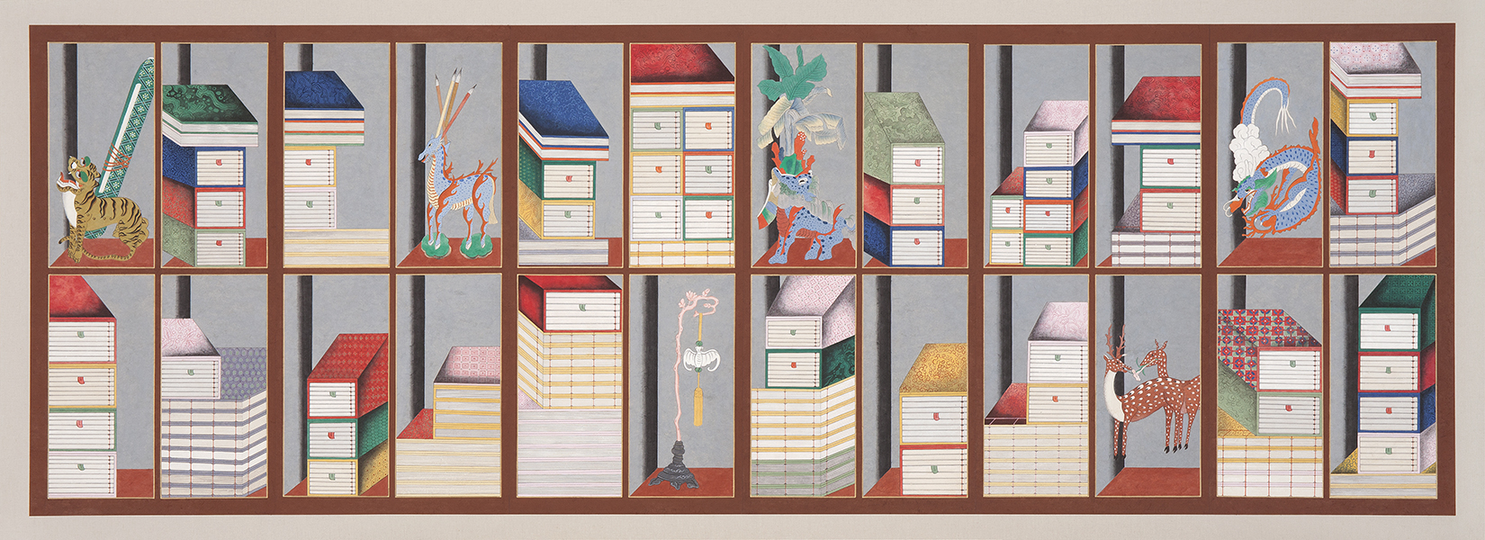 Scholar's Accoutrements(Chaekgado), 2016, Color on Korean paper, (41.1 x 82.5 cm) x 6panels