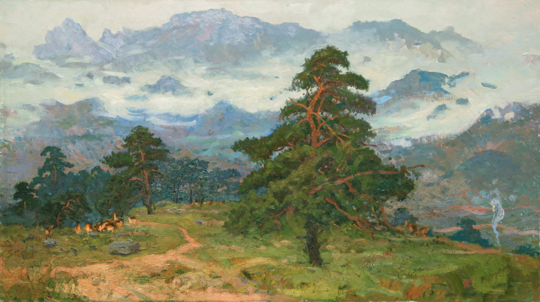 Pine Tree in the Kumgang Mountain, 1987, Oil on canvas, 72×129.5cm