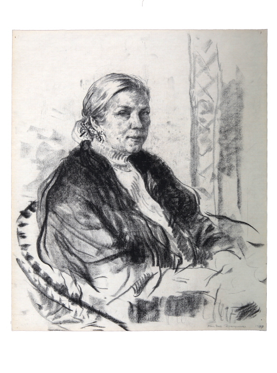 Alla Vasilievna Dragunskaya, 1977, Charcoal on paper, 63.5×50cm