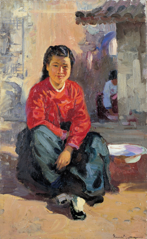 Girl in a Sunny Spot, 1953, Oil on canvas, 47.5x29cm