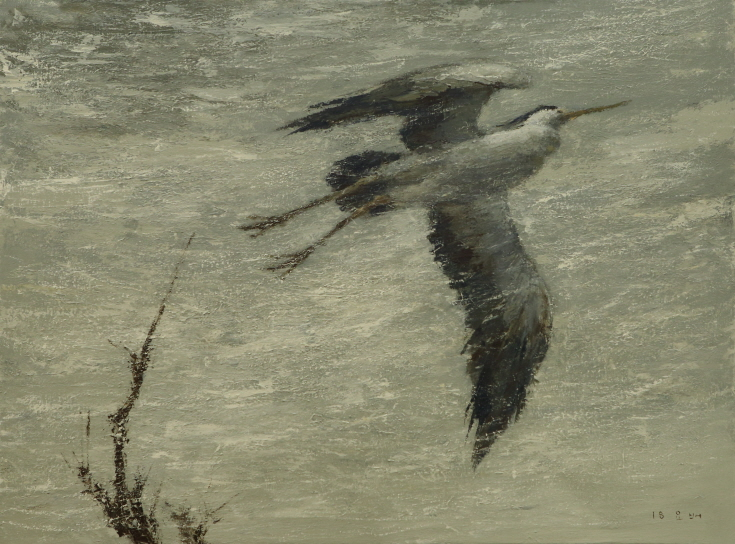 A Heron, 2018, Acrylic on canvas, 91×130.3cm