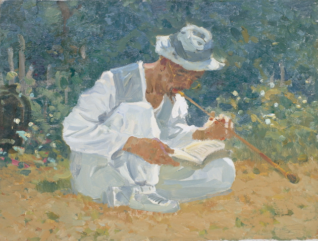Old Man Reading While Holding a Tobacco Pipe, 1987, Oil on canvas, 45×59.5cm
