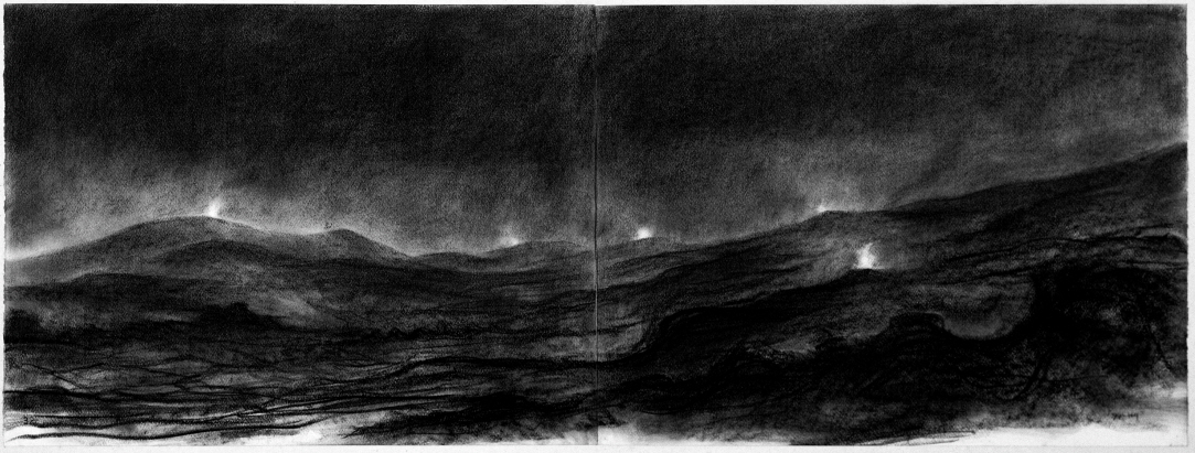 Signal Fires, 1991, Charcoal on paper, 50x130.6cm