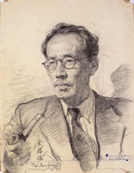 Geunwon Kim Yong-jun (Artist, Essayist), 1953, Charcoal, pencil on paper, 44x33.5cm