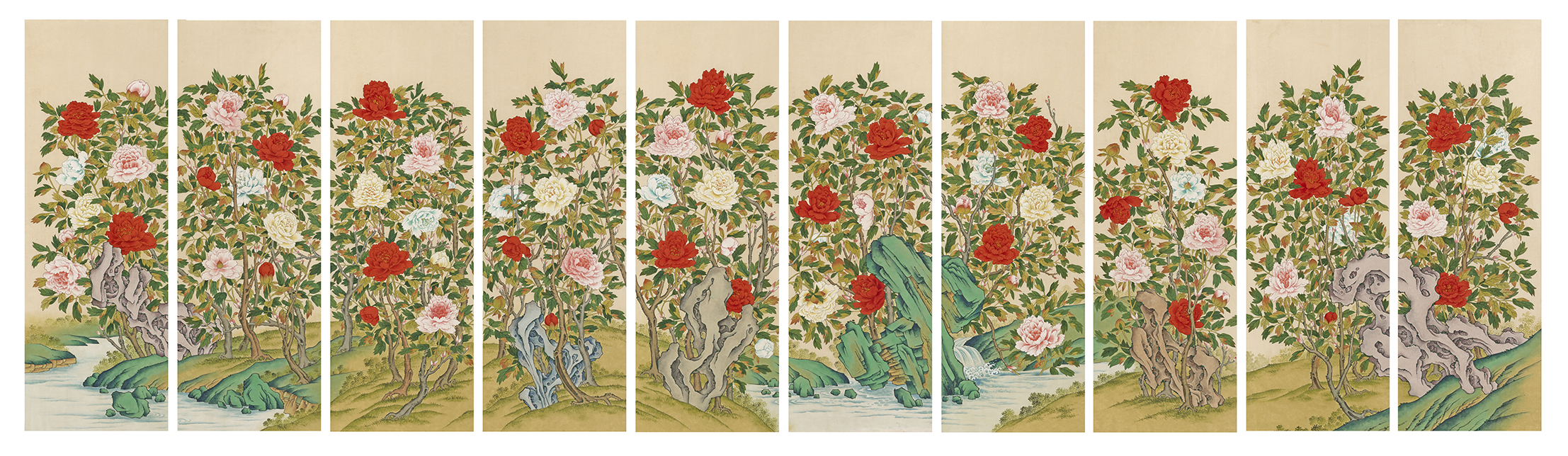 Peonies(Morando), 2015, Color on Korean paper, (55.5 x 159 cm) x 10panels