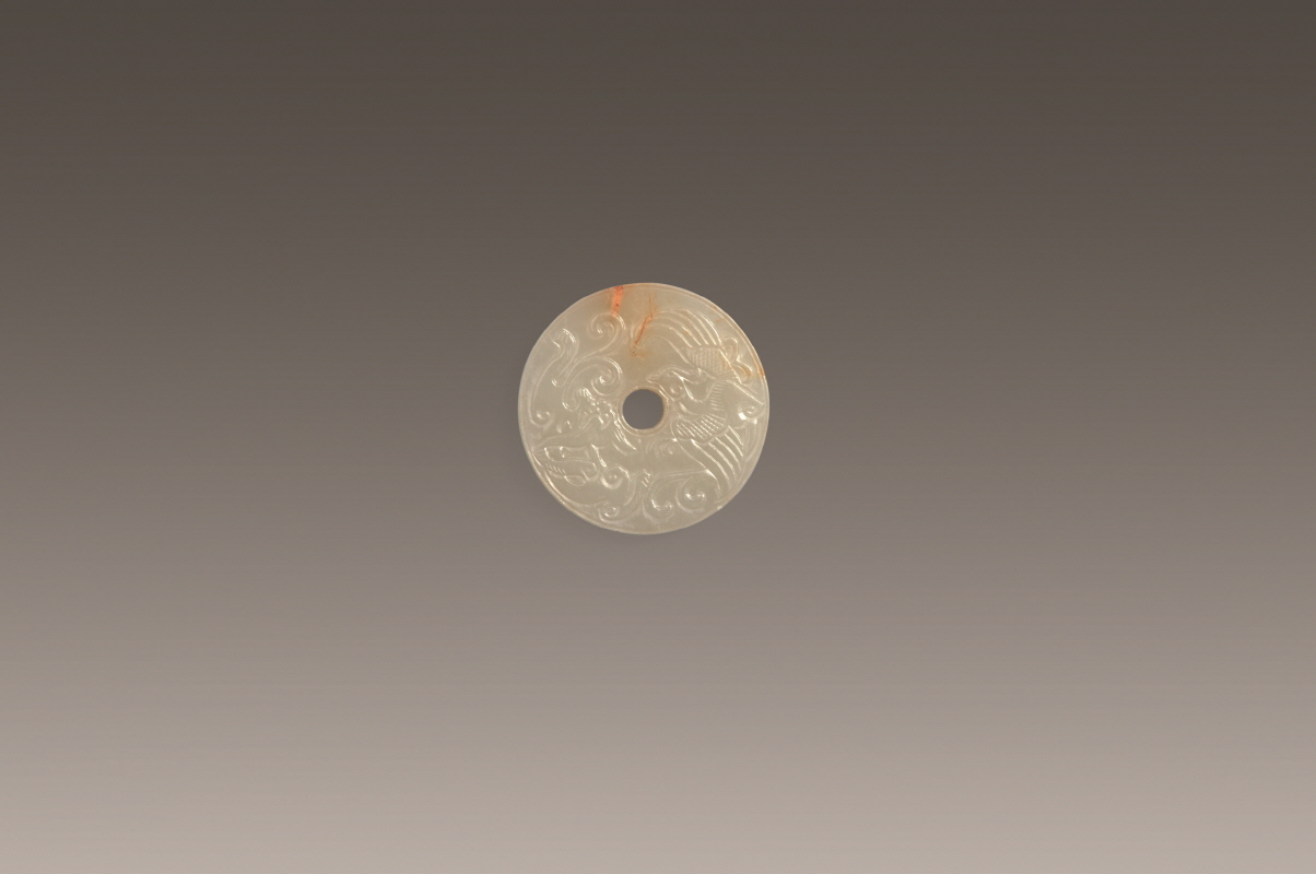 Dragon and Pheonix-Patterned White 'Bi' Jade Pendant, Song Dynasty, H0.8 W5 (1)