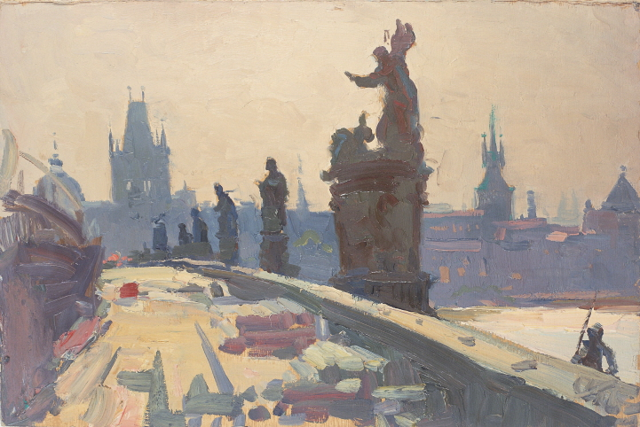 On the Charles Bridge (Prague), 1972, Oil on panel, 25×36.5cm