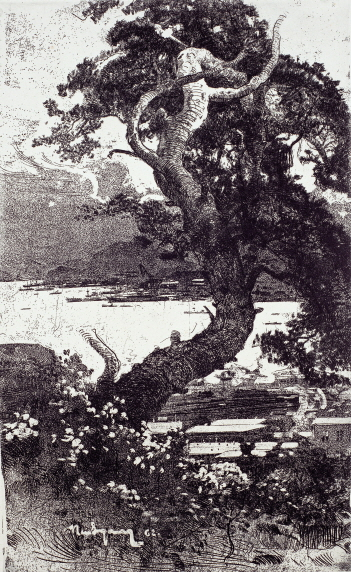 Pine Tree of Nakhodka, 1962, Etching, 64.5×39.5cm