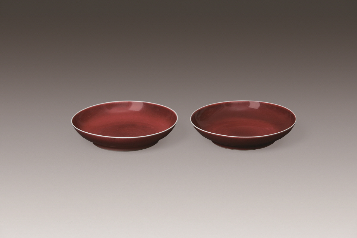 A Pair of Sacrificial-Red-Glazed Dishes, Qianlong Mark and Period, H3.5 W16.8