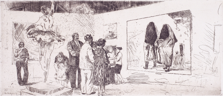 At the Tashkent Art Museum, 1980, Etching, 21.2×50.2cm