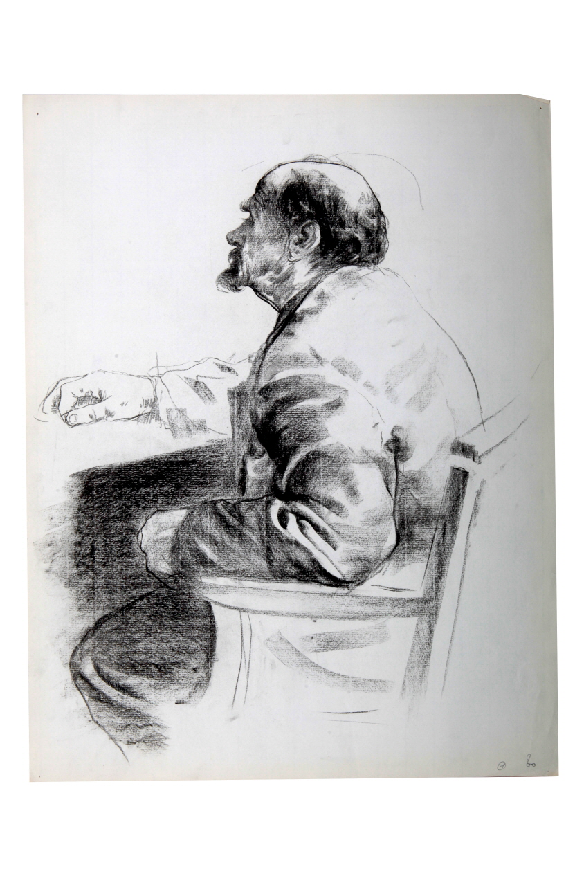 Male Model, 1980, Charcoal on paper, 63.5×49cm