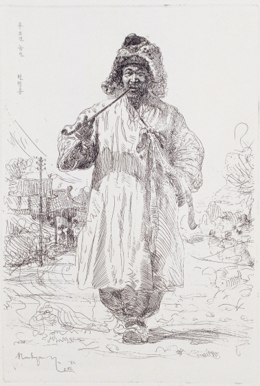 North Korean Farmer Holding a Tobacco Pipe, 1958, Etching, 22.6×15.4cm