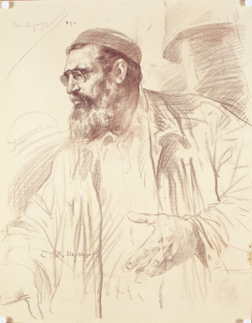 Portrait of S. D. Merkurov, 1969, Sepia on paper, 63×49cm