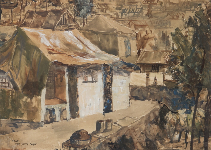 Tent Village, 1960, Watercolor on paper, 62x45cm