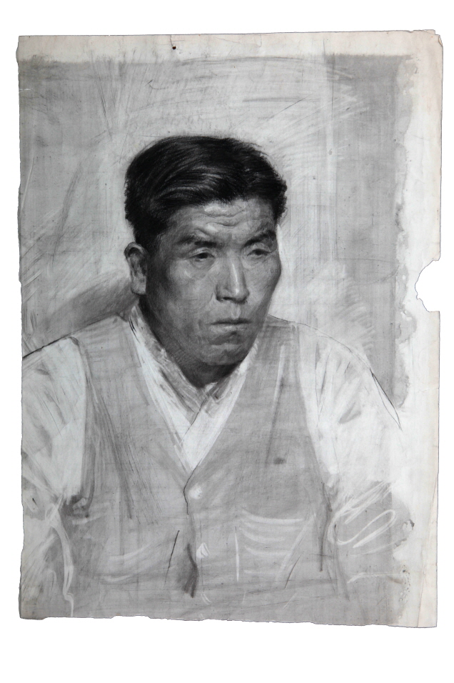 Korean Man Wearing a Vest, 1953, Charcoal, pencil on paper, 52.5×37.5cm