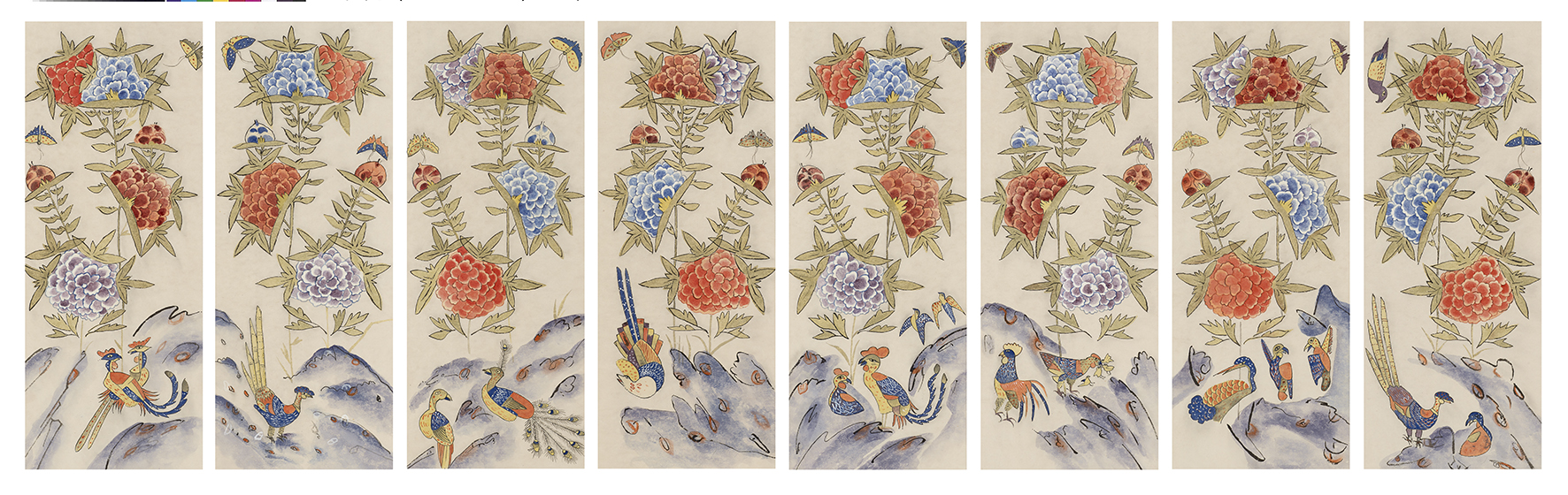 Peonies(Morando), 2015, Color on Korean paper, (28.5 x 73 cm) x 8panels