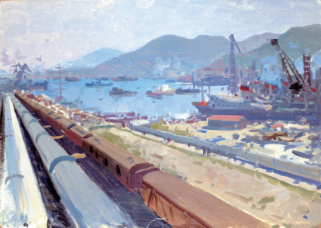 Far Eastern Factory (Etude), 1961, Oil on panel, 50x70cm