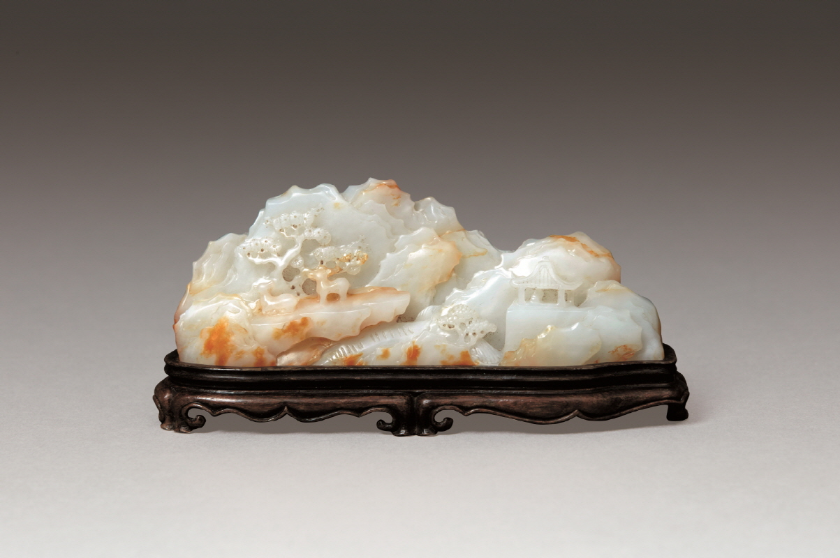 White Jade 'Pine and Deer' Mountain, Republic Period, H4.5 W13.2