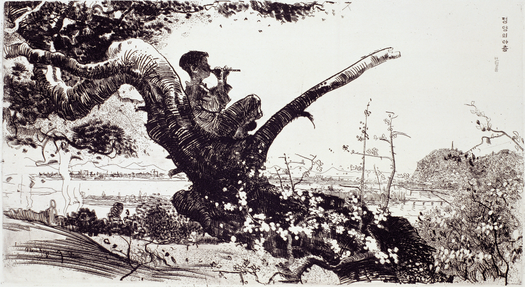Morning in Pyongyang, 1960, Etching, 34.2×60.8cm