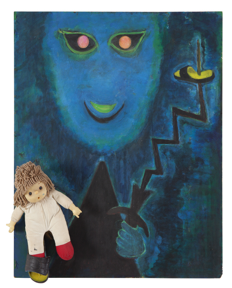 Ghost, 2000, Acrylic, a panel, a doll and slippers on canvas, 78x68.3cm