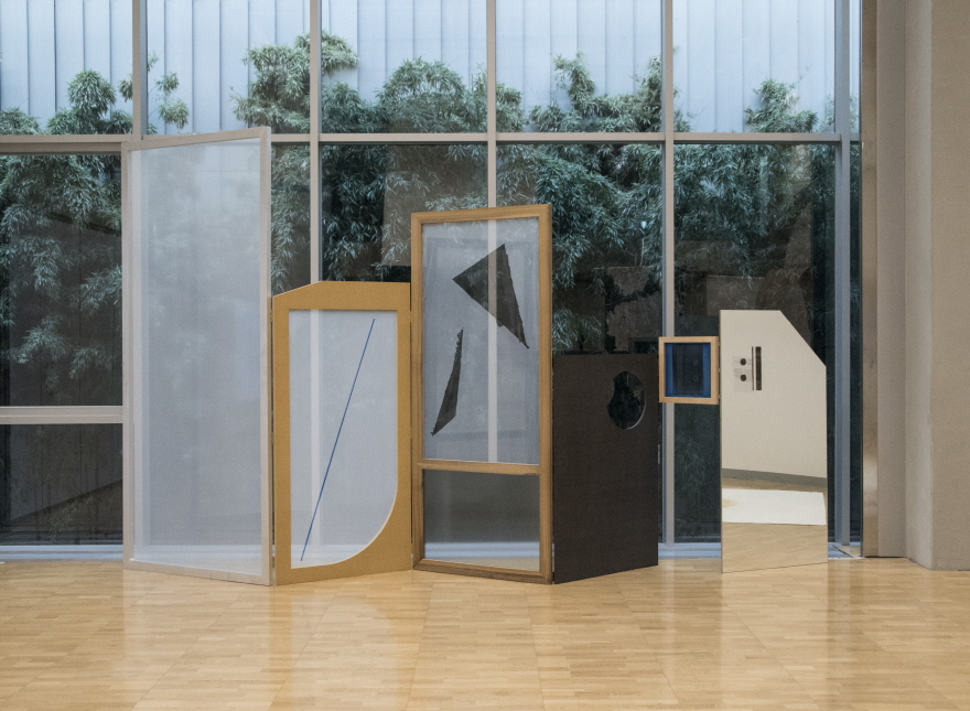 RohwaJeong, Folding Screen, 2018, Aluminium frames, colored MDF, Mansonia wood, Birch plywood, mirror, hinges, silk screen mesh, screen printing, Dimensions variable