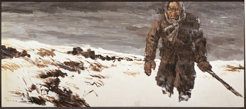 A Liaison Soldier in the Snow, 1992, Acrylic on canvas, 72x161.7cm