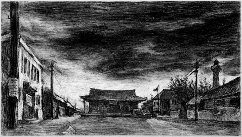 The Plaza on the General Strike, 1991, Charcoal on paper, 43.5x77.8cm