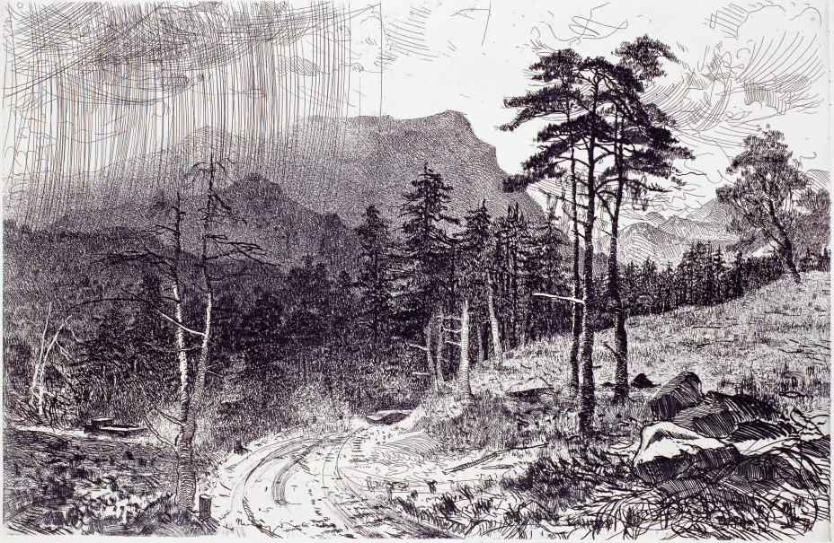 Mountains in Abkhaziya, 1966, Etching, 32×48.7cm