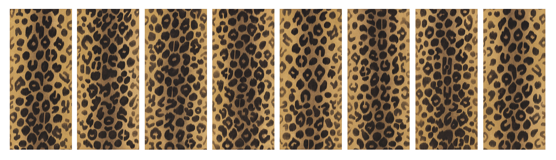 Screen decorated with Leopard, 2010, Color on Korean paper, (40.5 x 90 cm) x 8panels