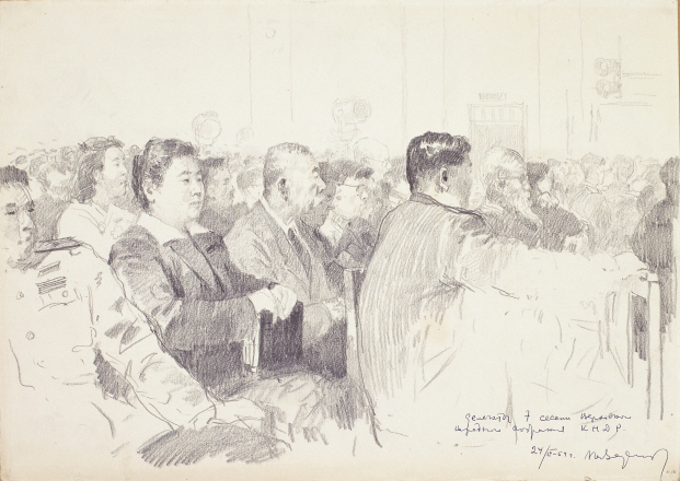 Delegates, 1954, Pencil on paper, 28.8×40.5cm