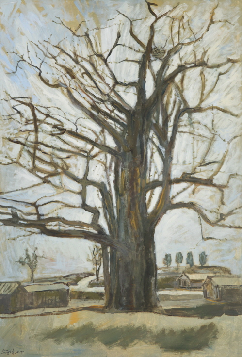 Maidenhair Tree in Ganghwa Island, 2012, Acrylic on canvas, 162x112cm