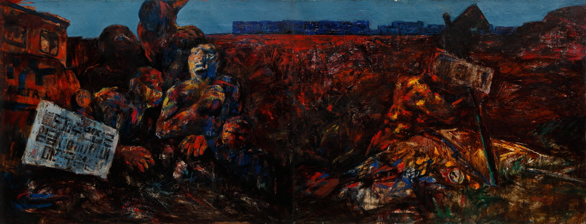 Nanjido - Landll, 1984, Oil on canvas, 112.1x291(112.1x145.5, 112.1x145.5)cm