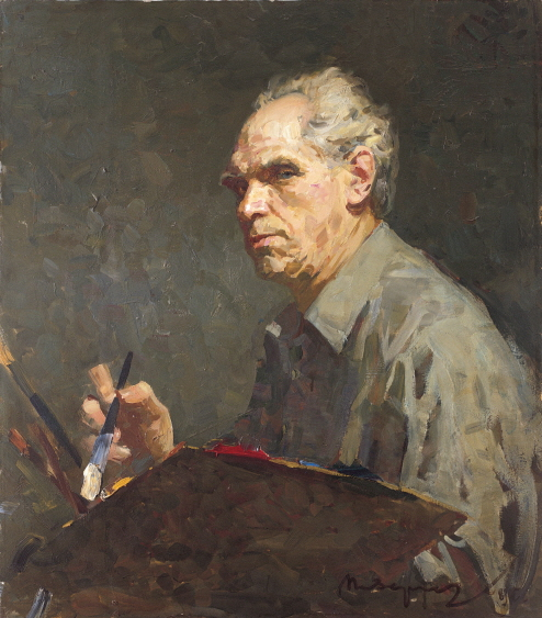 Portrait of the Artist Oleg Ererneev, 1983, Oil on canvas, 80×70cm