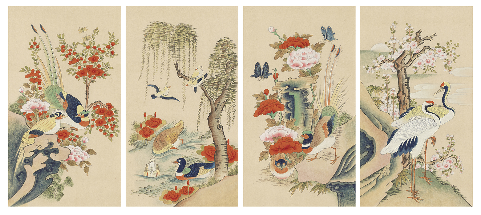 Bird and Flower Painting, 2014, Color on Korean paper, (26 x 46 cm) x 4panels