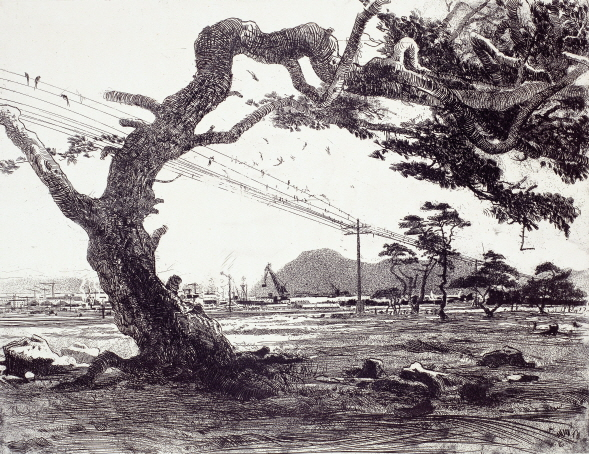 In Nakhodka, 1961, Etching, 49.5×64.5cm