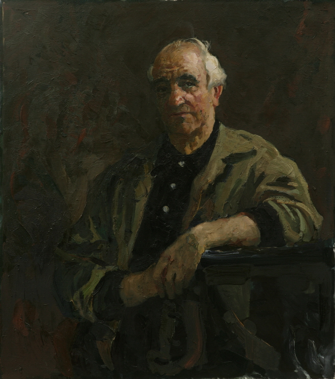 Sculptor M. K. Anikushin, 1987, Oil on canvas, 90×80cm